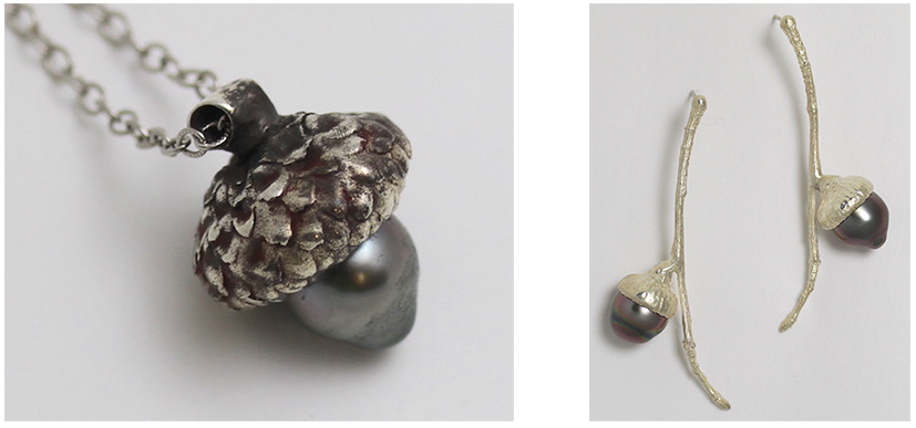 Acorn pendant and earrings inspired by the Olmsted Linear Parks
